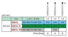 Freza diamantata globulara D801L gat lung